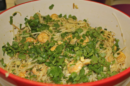 Singapore Noodles with Shrimp and Garlic