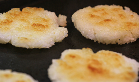 Crispy Rice Cakes have a beautiful golden brown hue.