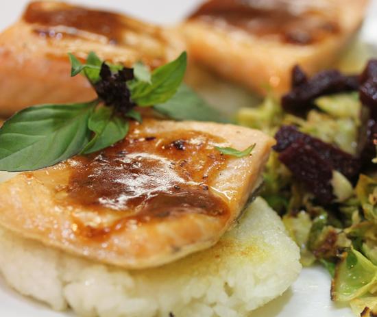 Salmon with Crispy Rice Cakes