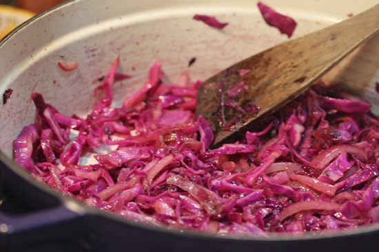Warm Red Cabbage Salad with Walnuts and Feta Cheese ...