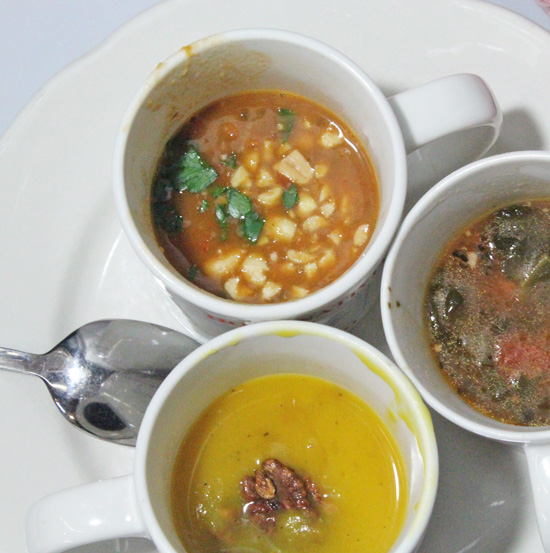 Clockwise: African Peanut Stew, Tortellini and Italian Sausage Soup, Kabocha Squash Soup with Candied Pecans.