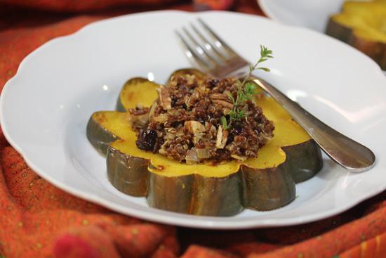 Acorn Squash Rings stuffed with Quinoa, Cranberries and Pecans