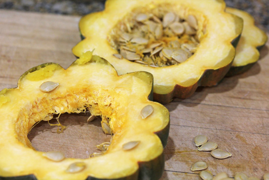 Acorn Squash Rings slice up more easily after roasting the whole squash for 10 minutes.
