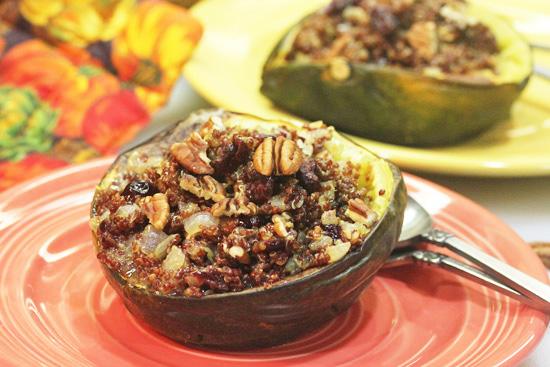Acorn Squash stuffed with Red Quinoa, Cranberries and Pecans