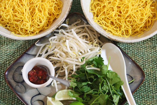 Refrigerated Chinese egg noodles are very yellow and easy to work with.