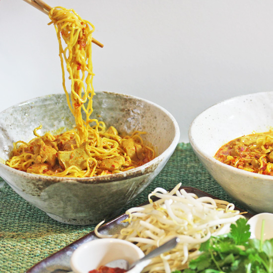 The fresh-made curry paste makes the Thai Curry Chicken Noodle Soup really special.