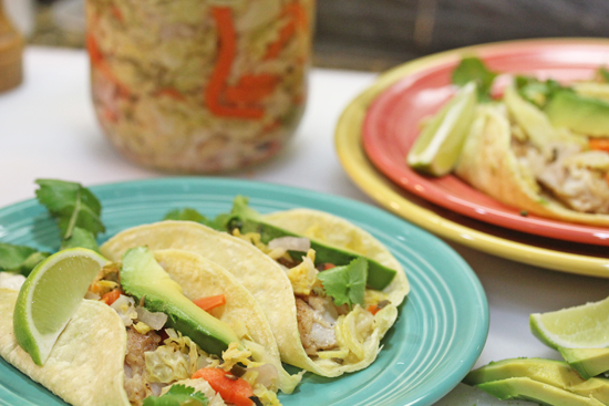 Fermented Curtido tops Fish Tacos