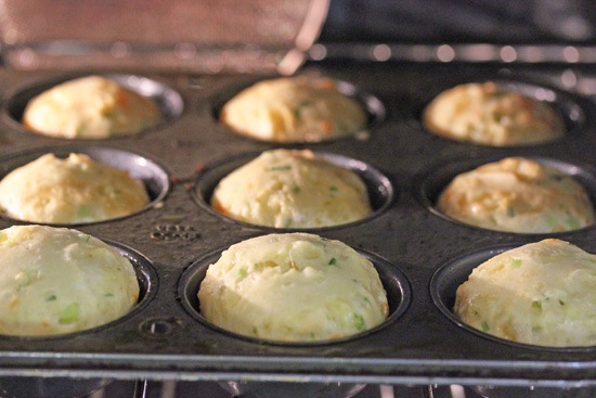 Scallion and Cheddar Popovers pop from the high heat and continue to bake after temp is lowered.