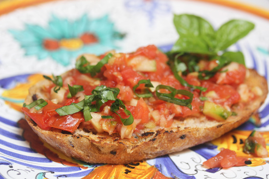 Grilled Tomato and Cucumber Bruschetta
