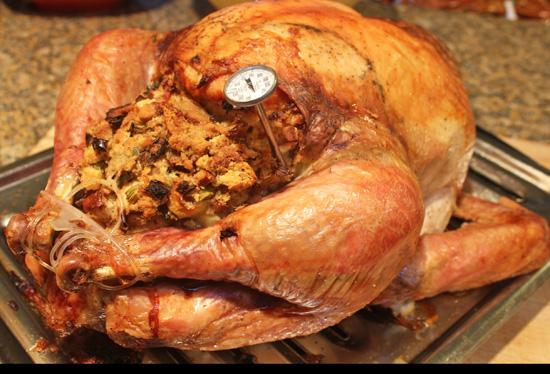 Thanksgiving Turkey with Fruit Stuffing recipe from FreshFoodinaFlash.com