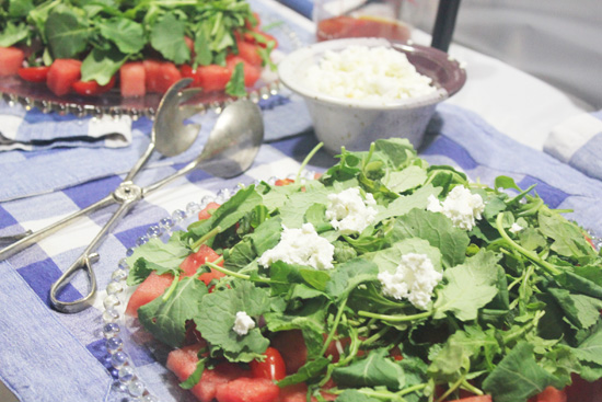 Watermelon, Tomato and Baby Kale or Arugula Salad