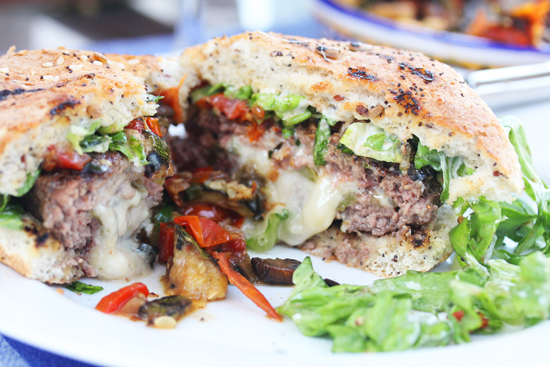 Bleu Cheese or Cheddar Stuffed Burgers topped with Ratatouille