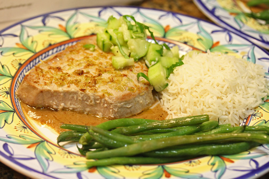 Lemon Grass-Crusted Tuna with Cucumber Salsa and Peanut Sauce