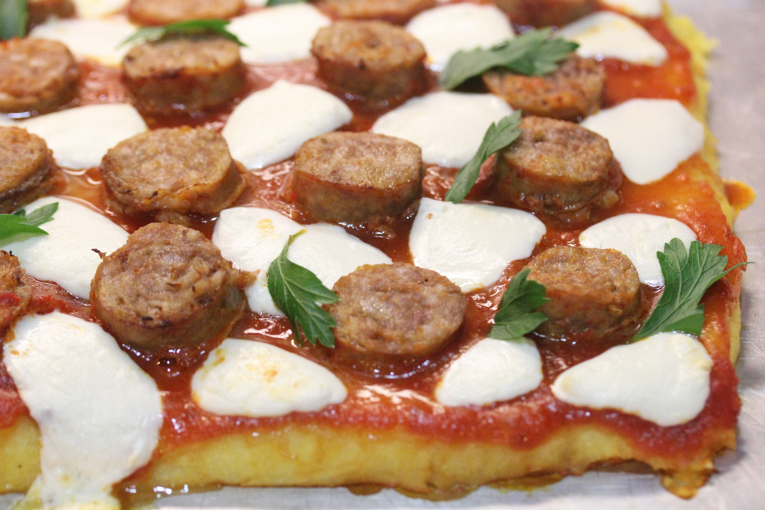 Baked Polenta with Sausage and Tomato Sauce