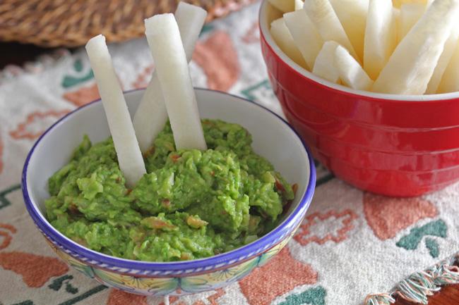 Jicama Sticks and a Guacamole Trick (the trick is adding peas)