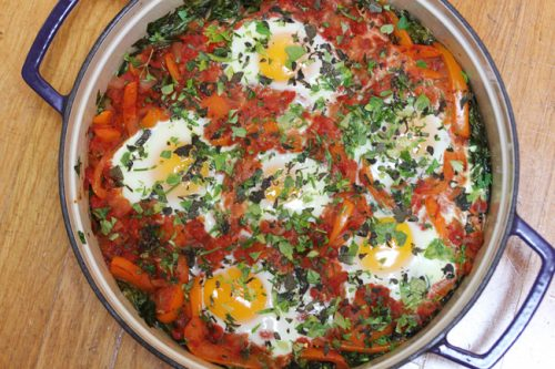 Shakshuka with Swiss Chard – A Middle Eastern Stew